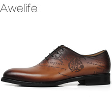 Hand Made Italy Vintage Men s Oxford Genuine Leather Wedding Party Formal Casual Brand Brown Script Male Dress Shoes