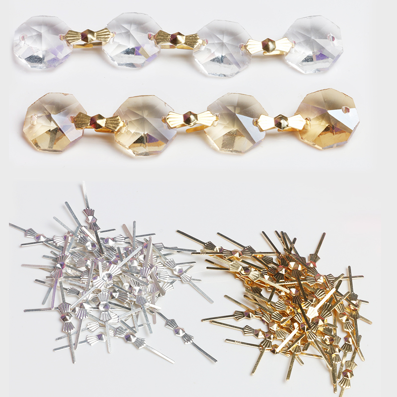"""SILVER  PINS CHANDELIER LAMP BEAD PRISM CRYSTAL CONNECTOR 25 mm 50pcs 1/"""""""