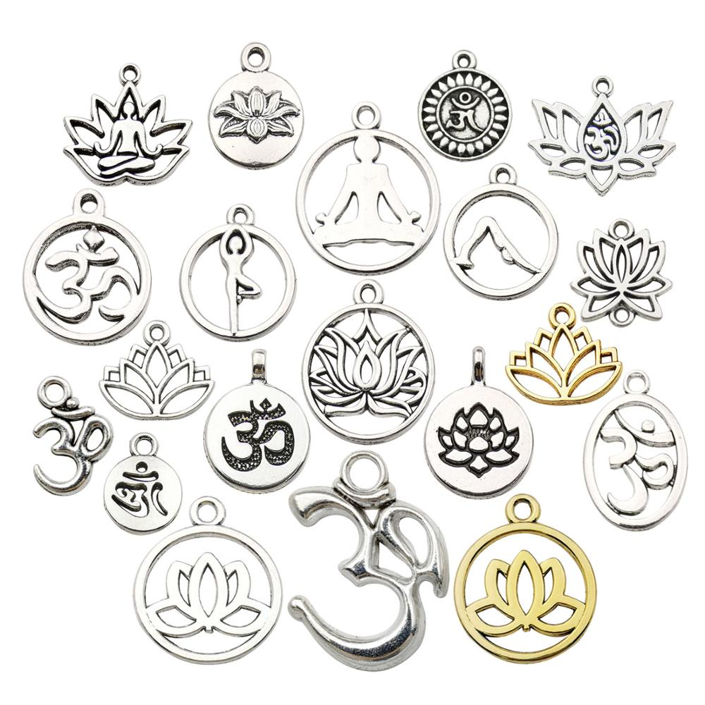 Оптовая продажа, 80 штук серебряных смешанных подвесок с цветком лотоса для йоги, подвески «сделай сам» для изготовления ювелирных изделий, ...