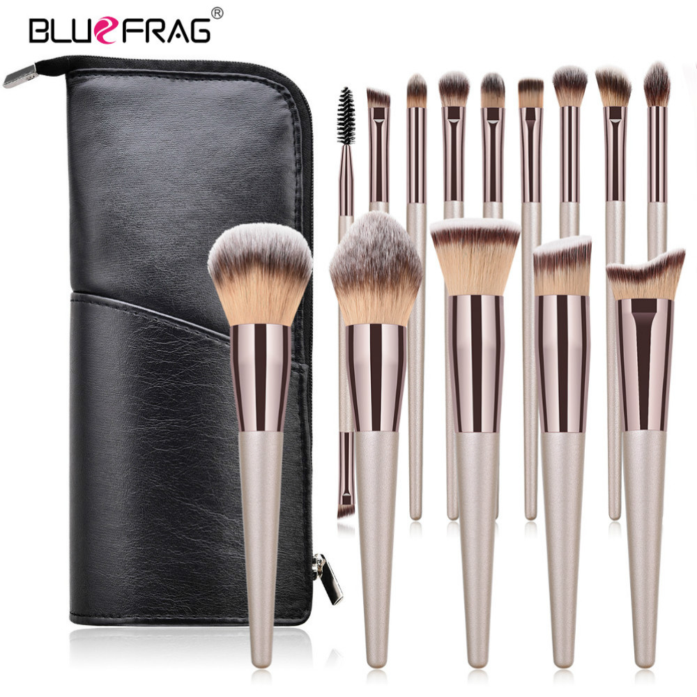 BLUEFRAG Make Up Brushes High Quality 6-14 Makeup Brush Set With Travel Bag Powder Blush Eyeshadow Concealer Lip Eye Beauty Tool