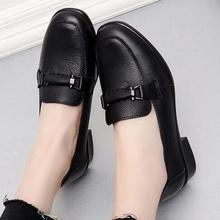 Spring square head women leather shoes loafers comfortable soft bottom casual leather shoes women zapatos de mujer women shoes cresfimix zapatos de mujer women fashion pu leather slip on flat shoes female soft and comfortable black loafers lady shoes