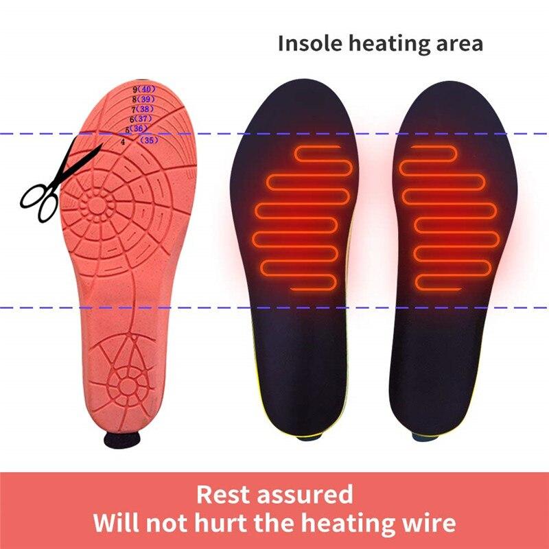 2 пары нагревательных стелек с аккумулятором 2000 мАч для мужчин и женщин, теплые зимние стельки для ног, уличные спортивные Нескользящие терм... - 2