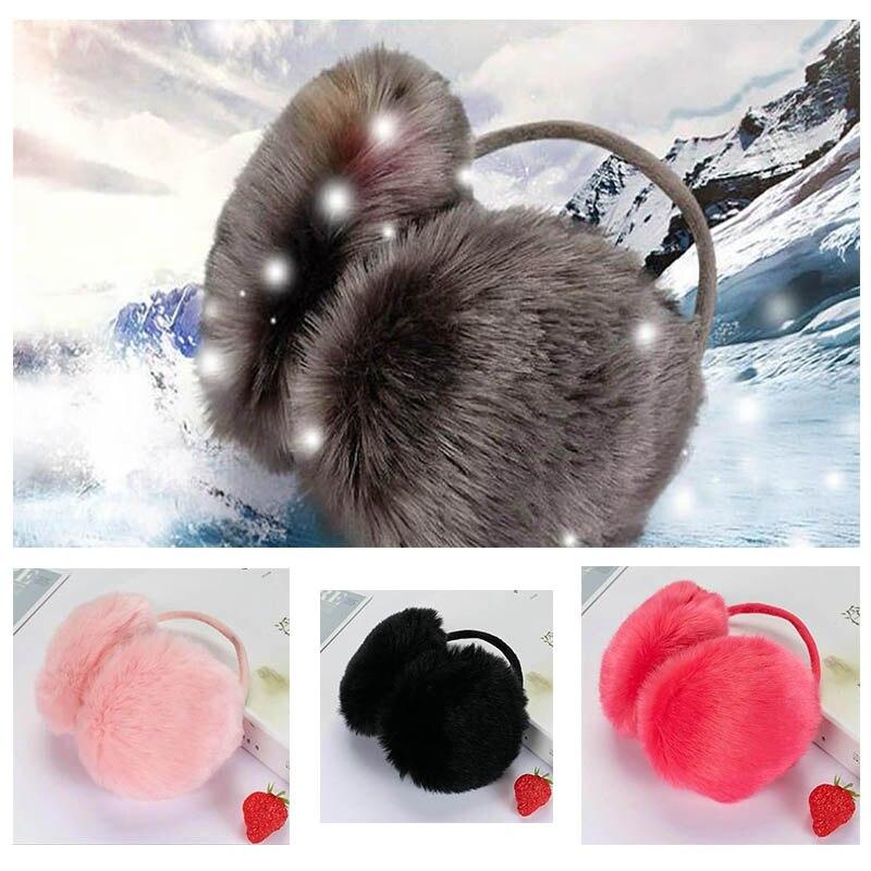 Calymel Fashion Women Men Winter Round Plush Ear Pad Back Wear Warmers Earmuffs Solid Headband Faux Rabbit Fur Earlap