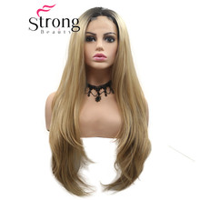 StrongBeauty Natural Straight Synthetic Lace Front Wigs Black Gold Blond Heat Re