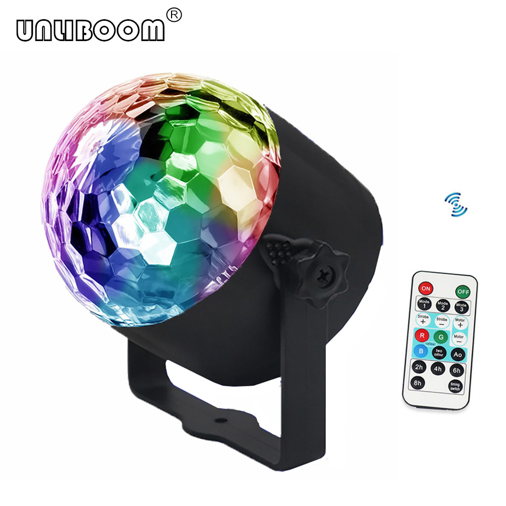 Mini Remote RGB LED Crystal Magic Rotating Ball Stage Lights Sound Activated Disco Light Music Christmas KTV Party EU/US/UK Plug