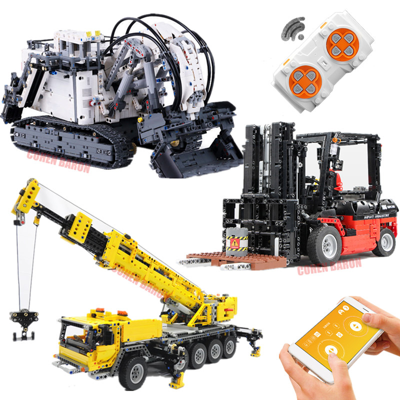 APP RC Mobile Crane Mk II Excavator Forklift Fit Technic Truck City <font><b>42009</b></font> 42100 R9800 Building Blocks Bricks Gift Toy image
