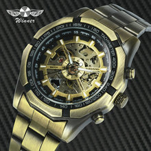 WINNER Official Steampunk Mens Watches Top Brand Luxury Automatic Mechanical Skeleton Watch Full Steel Strap Fashion Wristwatch цена 2017