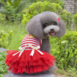 Bow Stripes Pet Dog Dress Princess Puppy Cat Dresses Dog Pet Clothing Yorkshire Three Layers of Yarn Pet Clothes Gauze Dog Skirt