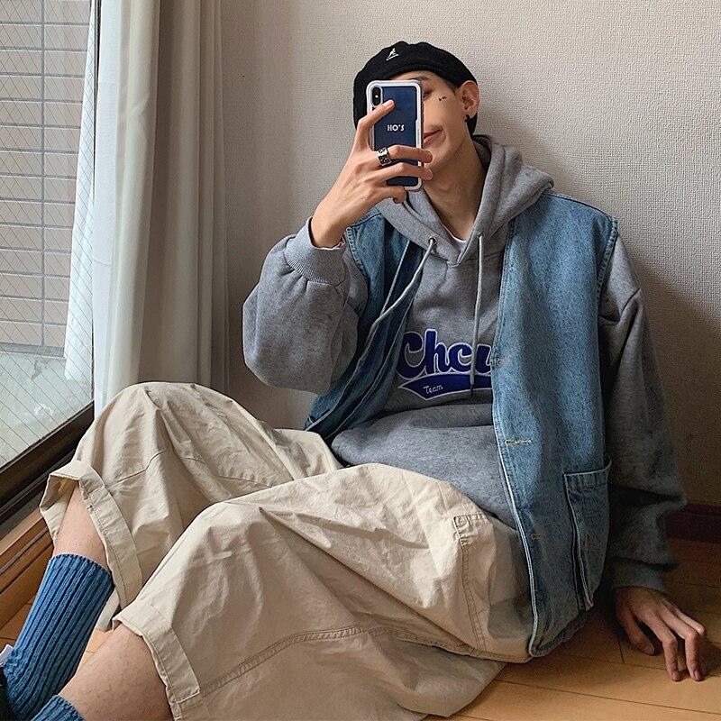 2019 printemps et automne nouvel outillage japonais BF vent mode décontracté veste grande poche lâche mâle lavé Denim gilet bleu ciel M-XL