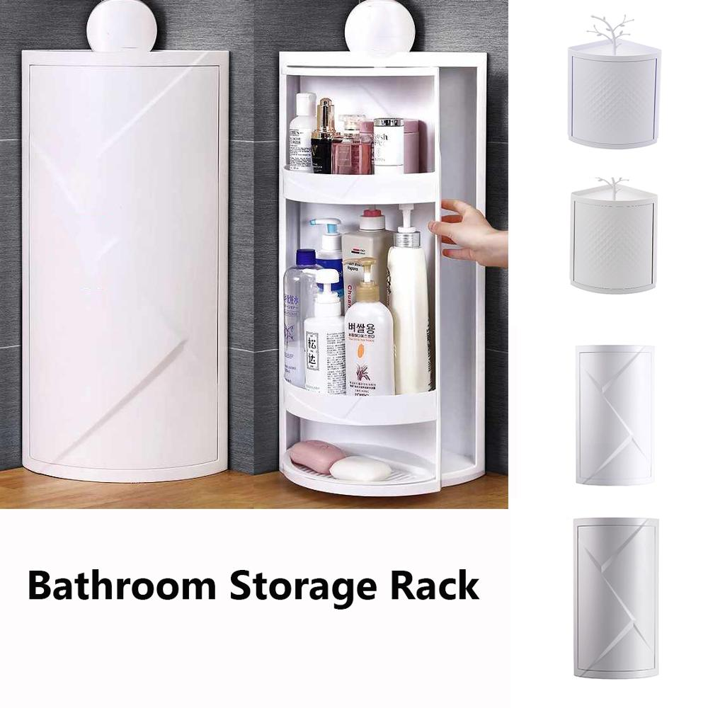 Bathroom Kitchen Storage Rack Multi-function Rotating Shelf Free Punching Suction Wall Large Storage Box Kitchen Organizer
