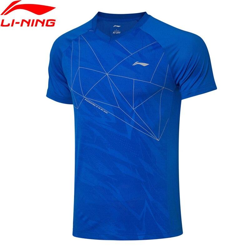 Li-ning hommes Badminton T-Shirts costume de compétition à sec respirant pliable à. _ statique doublure sport Tee AAYP315 MTS3148