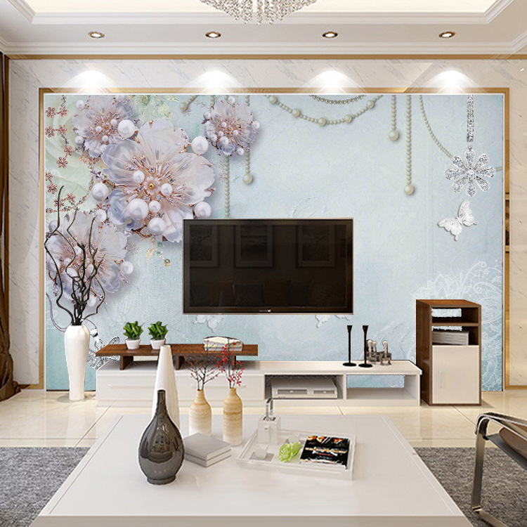Customizable Large Mural TV Backdrop Wallpaper Diamond Jewelry Flower Figure Simple European Style Living Room Seamless Wall Clo