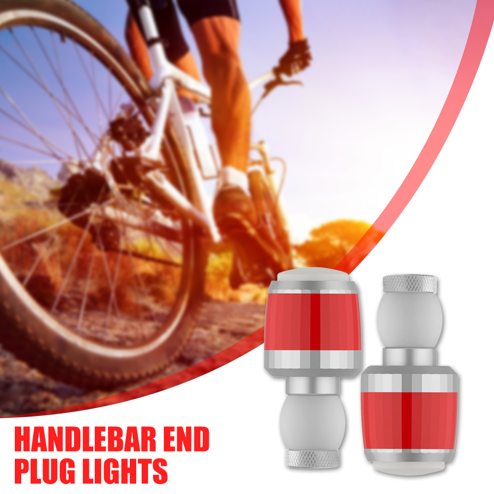 2pcs Bike Bicycle Handlebar End Plug 2 Mode LED Light Turn Signal Warning Lamp