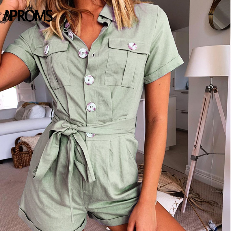 Aproms Buttons Down Green Playsuit Summer Sashes Tie Up Romper Female Casual Side Pockets Jumpsuit Streetwear Overalls For Women