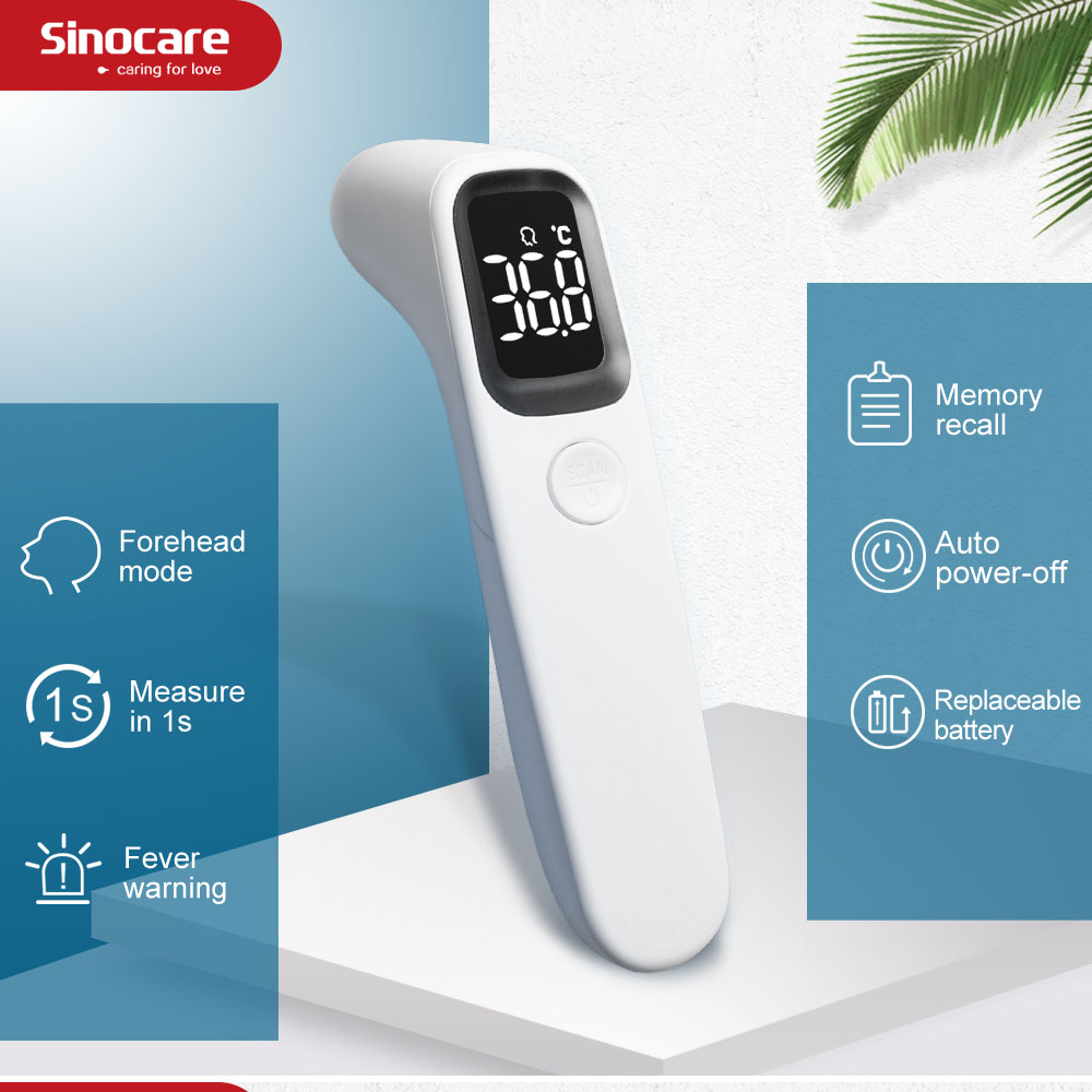 Sinocare Infrared Thermometer Digital LCD Body Measurement Forehead Ear Non-Contact Adult Body Fever Baby Children Thermometer