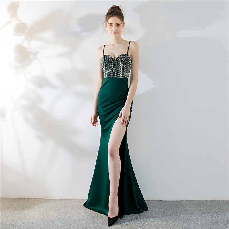 Sexy Evening Dress 2020 Elegant Long Mermaid Formal Gown Split Robes Crystal Backless Slit Annual Conference Robe De Soiree