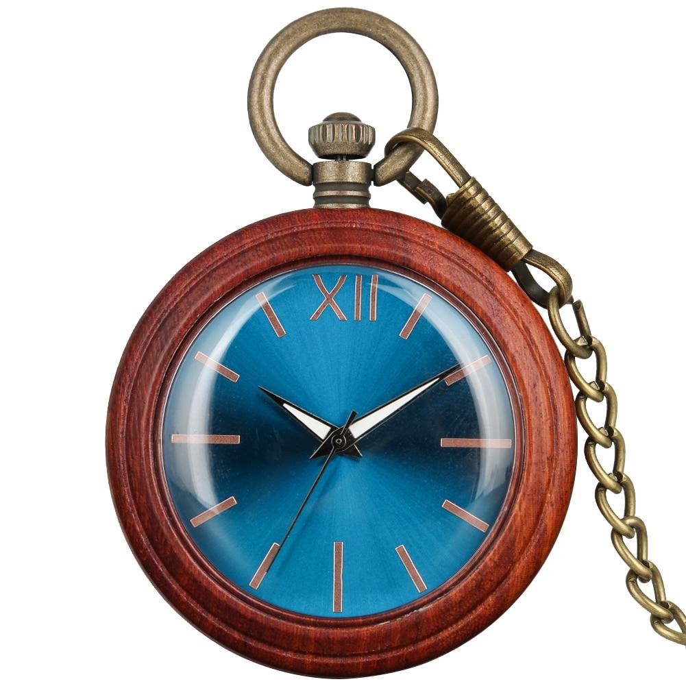 Red Sandalwood Case Pocket Watch Men Exquisite Blu-ray Surface Dial Retro Bronze Rough Chain Women Necklace Zuster Klokje