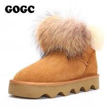 GOGC en cuir véritable femmes bottes dhiver avec fourrure femmes bottes plate forme imperméable bottes de neige pour les femmes chaussure dhiver grande taille 9726