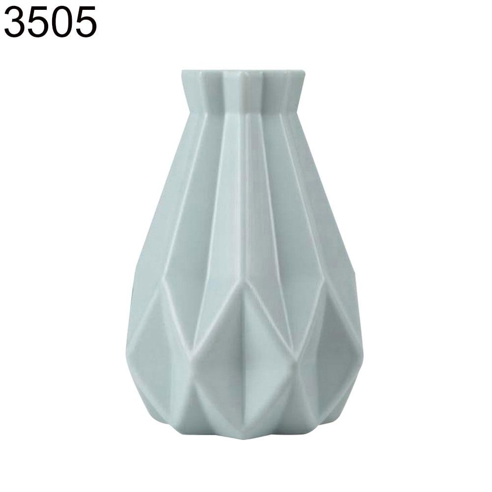 Пластиковый Небьющийся цветочный горшок ваза Современная Кабинет Прихожая Свадьба домашний офис Декор Настольная Ваза - Цвет: Green 3505