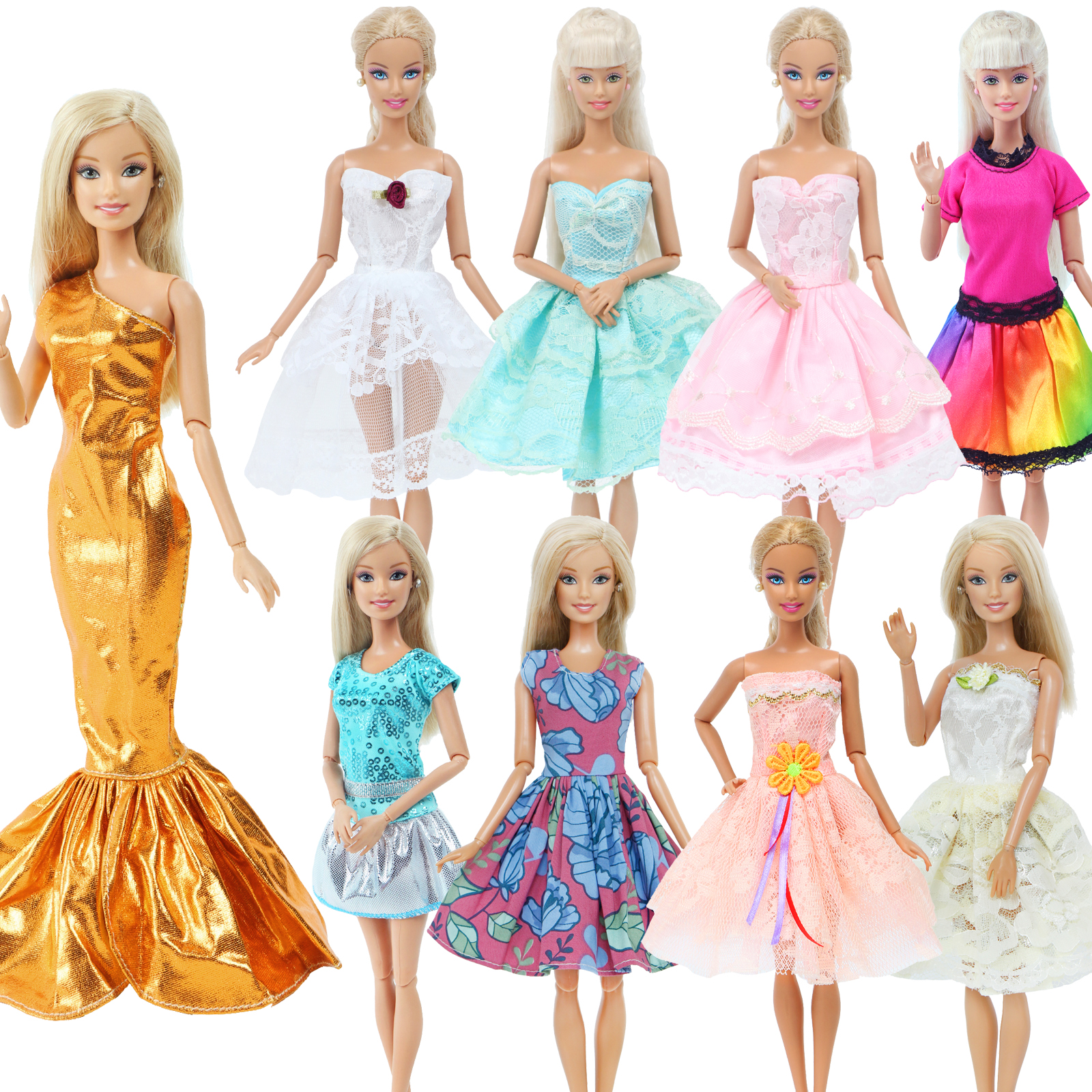 Handmade Fashion Doll Dress For Barbie Doll Lace Sexy Skirt Wedding Party Wear Mini Gown Mixed Style Clothes Accessories DIY Toy