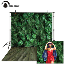 Allenjoy spring background for photography summer Palm leaves tropical plants wall Wooden floor photoshoot backdrop photophone