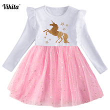 VIKITA New Fille Robe Licorne Girls Unicorn Birthday Party Dress Toddlers Tutu Princess Vestidos Kids Mesh for
