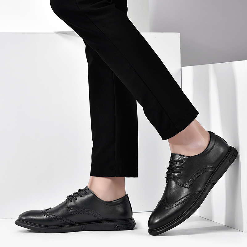 large size 38-47 genuine cow leather oxford formal shoes men brogue business office formal shoes breath lace up shoes
