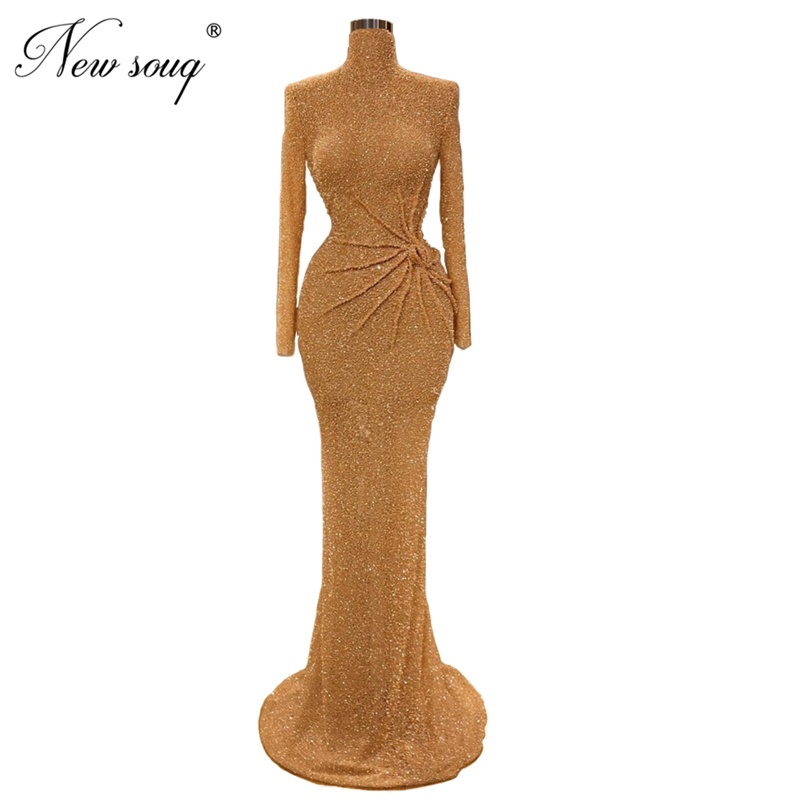 Luxury New Muslim Gold Long Sleeves Evening Dresses Dubai Turkish Arabic Glitter Party Gown Abendkleider Mermaid Prom Dress 2020