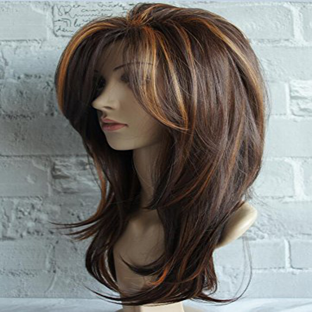 13x4 Long Layered Shoulder Length Human Hair Wig Soft Small Cap Size Highlight Multicolor Wigs For Black Women With Baby Hair
