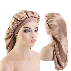 Long surdimensionné élastique double couche satin baril soie cheveux bonnet respirant bonnet de couchage turban sommeil chapeaux pour adulte