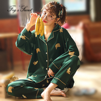 Women pajamas sleepwear pijama loose casual home wear T shirt + long trousers cotton roupas feminina