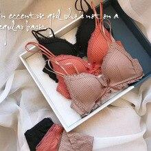 Driehoekige Cup naadloze mode Bralette Vrouwen Draadloze Dunne Katoen Ademend Comfortabel Ondergoed Effen kleur Lingerie Set