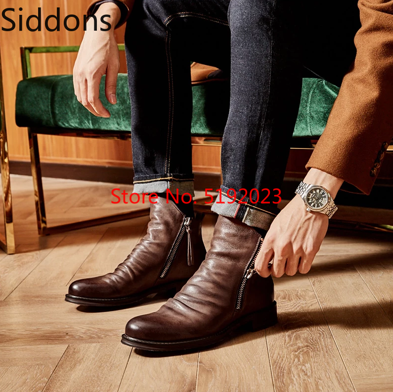 Ankle Boots For Men Sapato Feminino Chaussure Low Heels Shoes Male Man Autumn Casual Shoe Men's Vintage PU Leather Booties  D57