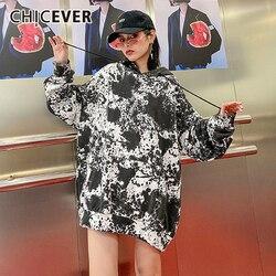 CHICEVER, корейский принт, хит, цветная Толстовка для женщин, с капюшоном, с длинным рукавом, большие размеры, повседневные толстовки, женская, 2020...