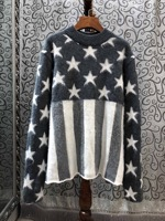 2019 New Arrival Star Print Striped Stitching Long Sleeve Wool Women Sweater Size S M L Free Shipping Worldwide