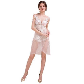 perspective low-cut deep V-neck sexy temptation dress nightclub lace backless camisole skirt skirt night KTV dress long section