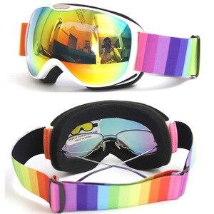 Детские лыжные очки, OTG очки для катания на лыжах и сноуборде для мужчин, женщин и молодежи, OTG дизайн, 100% защита от УФ 400
