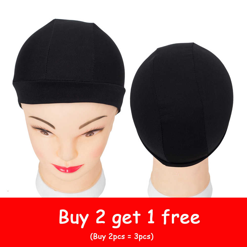 Glueless Black Spandex Dome Wig Caps for Hair Easier Sew In Hairbets Adjustable Invisible Nylon Stretch Hairnets For Making Wigs