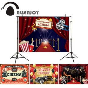 Allenjoy movie theme photography backdrop red carpet curtain cinema background party photocall photobooth photo shoot props new