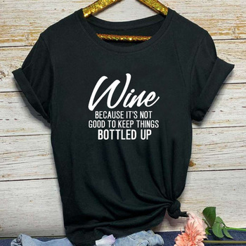 Wine Letter Print T Shirt Women Short Sleeve O Neck Loose Tshirt 2020 Summer Women Tee Shirt Tops Camisetas Mujer i solemnly swear letter print t shirt women short sleeve o neck loose tshirt 2020 summer women tee shirt tops camisetas mujer