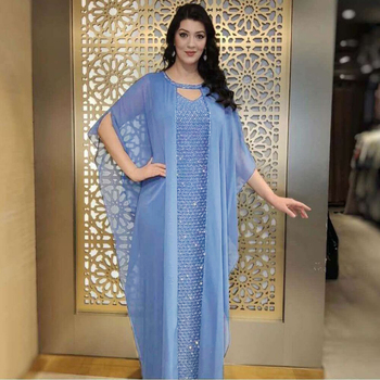 MD Gold Sparkling Evening Dress Muslim Sets Sling Dress Abaya Dubai Turkey Luxury Caftan Marocain
