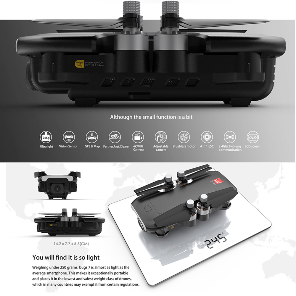 Professional mjx bugs 7 B7 GPS Drone quadcopter with 4K video camera rc quadrocopter gps smart following multicopter VS E520S