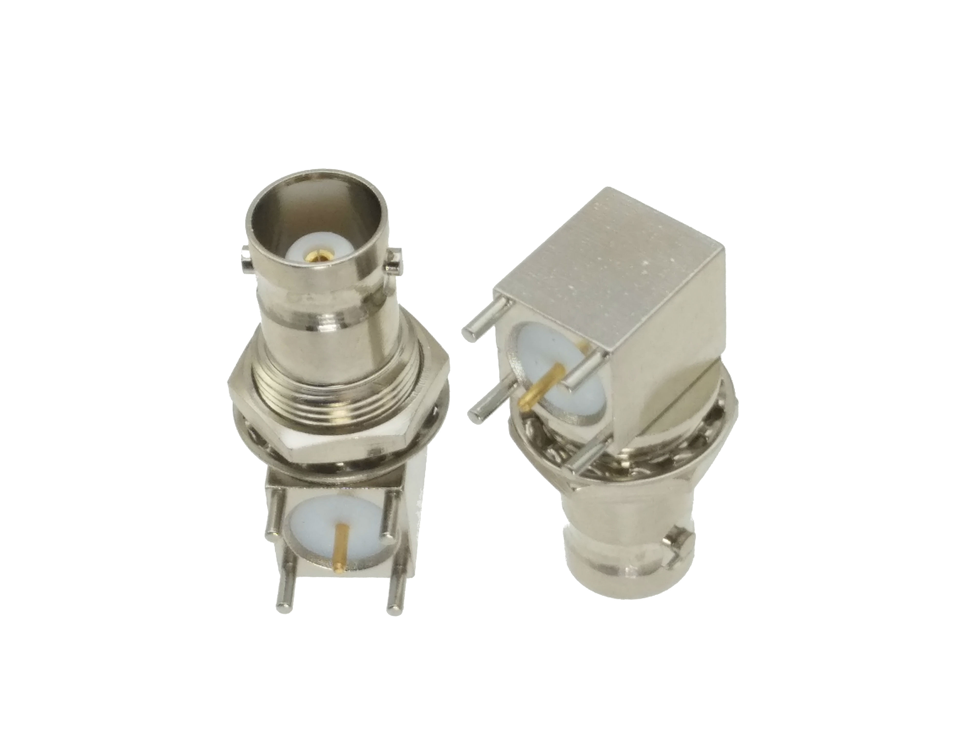 10pcs Connector BNC Female Jack Nut Bulkhead Right Angle Solder PCB Mount F