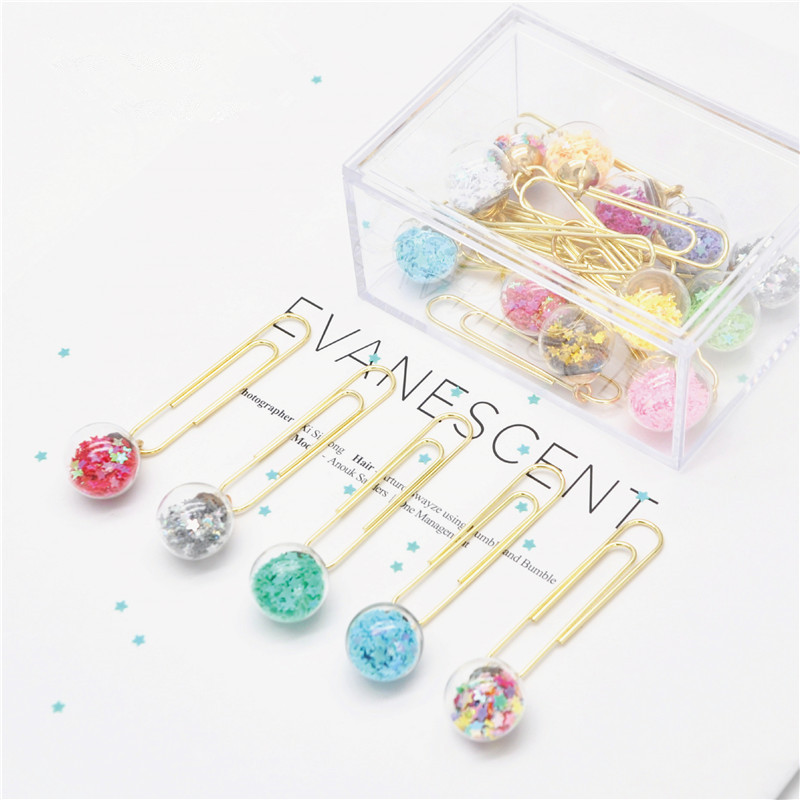 2PCS Glass Ball Clips Paper Printed Metal Binder Clips Paper Clamp Office DIY Letter Papel Notes Bookmark Stationery