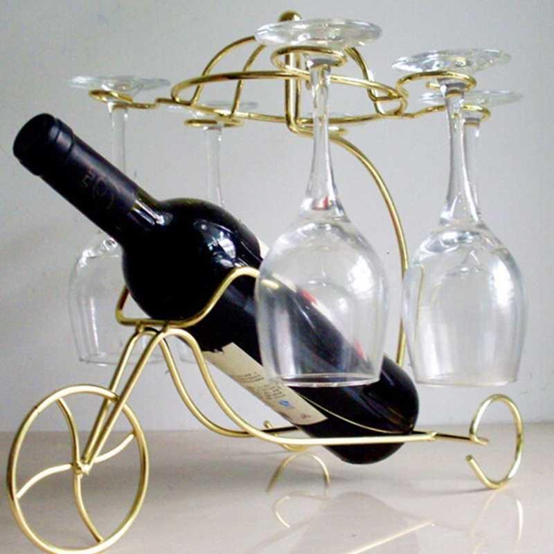 Top-2 Pcs Baru Halus Botol Anggur Merah Kacamata Pemegang Menggantung Terbalik Cup Piala Rak Display (Golden dan Perunggu)