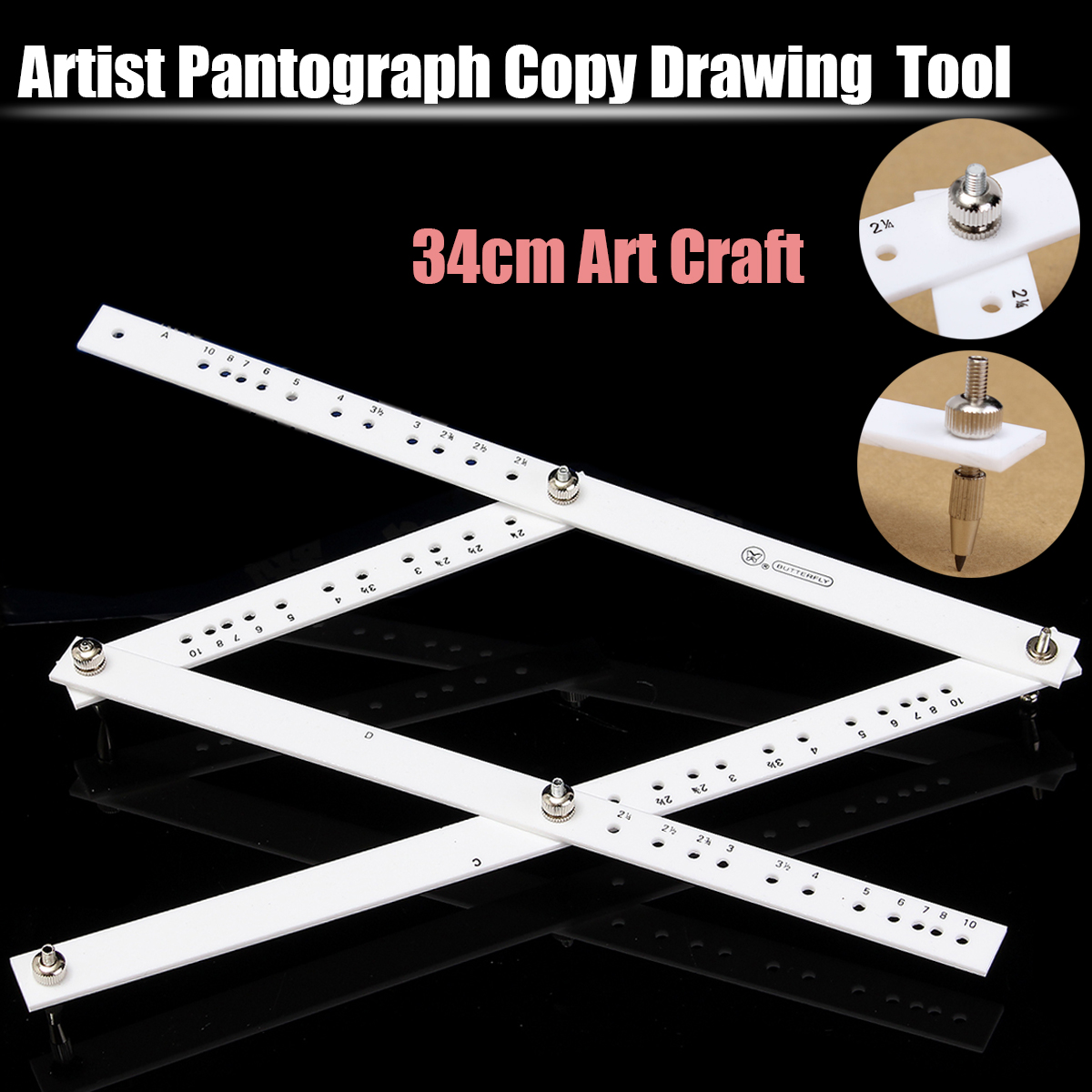 Kicute 34cm Scale Drawing Ruler Artist Pantograph Folding Ruler Reducer Enlarger Tool Art Craft For Office School Supplies