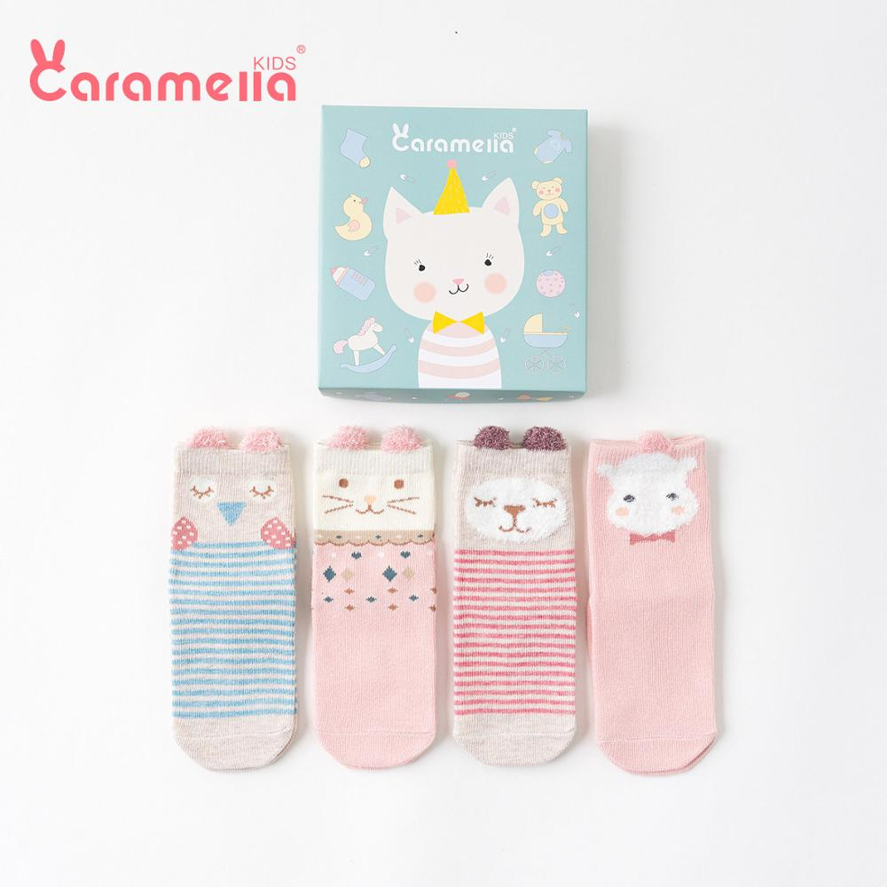 Caramella 4Pairs Kids Ankle Socks Cute Infant 3D Cartoon Cat Stripe Socks Girls Baby Seamless Pink Cotton Socks 0-12Y Gift Box
