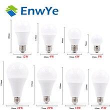 EnwYe LED E27 E14 Bóng Đèn LED AC 220V 240V 20W 24W 18W 15W 12W 9W 6W 3W Lampada Đèn Trợ Sáng Đèn Bàn