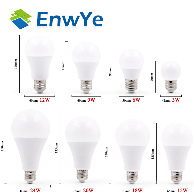 EnwYe LED Light E27 E14 LED Bulb AC 220V 240V 20W 24W 18W 15W 12W 9W 6W 3W Lampada LED Spotlight Table Lamp