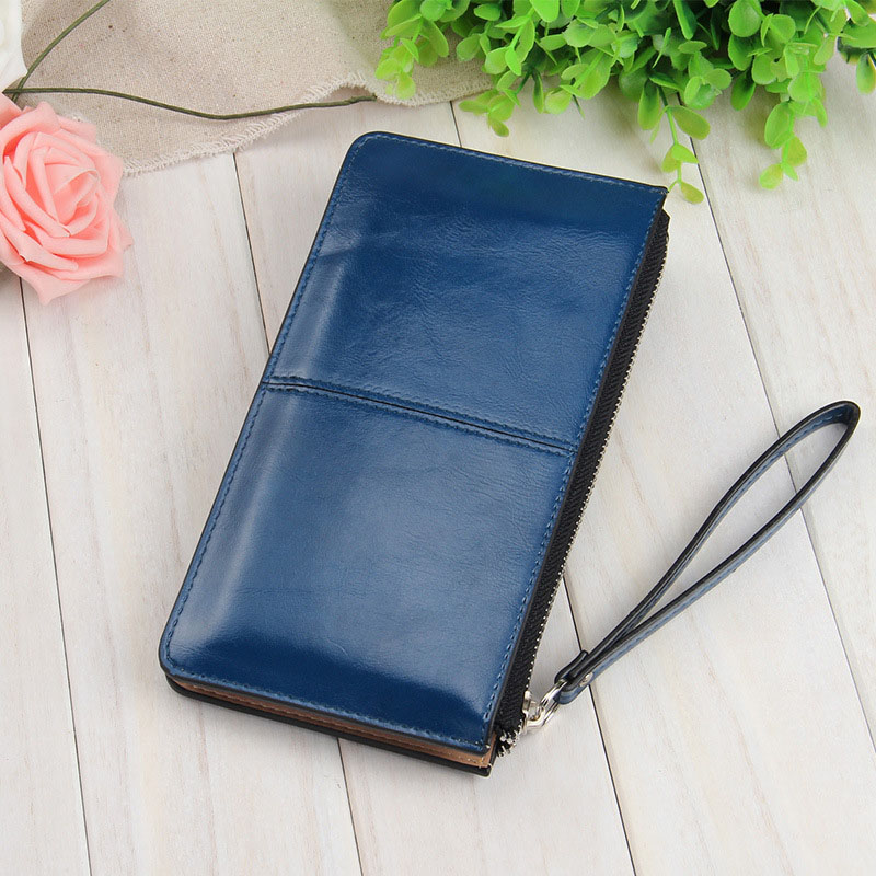 High Fashion Korean Women Clutch Bag With Wristband Leather Solid Color Lady Girl Long Wallet Card Holder Zipped Coin Purse KTC